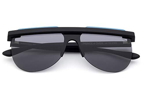 Saraghina Eyewear - Gafas de sol unisex de nailon ultraligero Prince4OVER-115SPB/S, color negro y azul