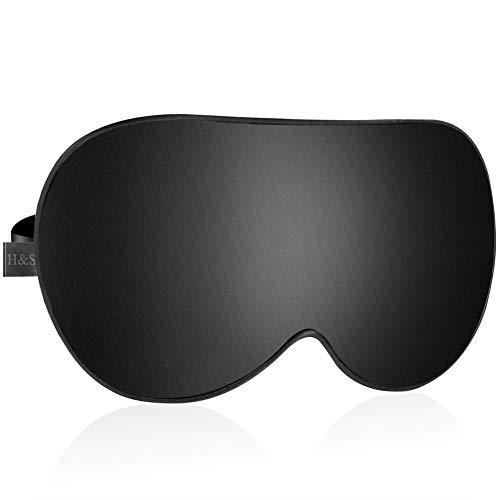 H&S Weiche Augenmaske aus Baumwolle mit verstellbarem Gurt und Ohrstöpseln für Unisex - Erwachsene