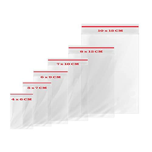 Jecarden - Bolsas de plástico con cremallera (600 unidades, 80 µm, 6 tamaños, transparentes)