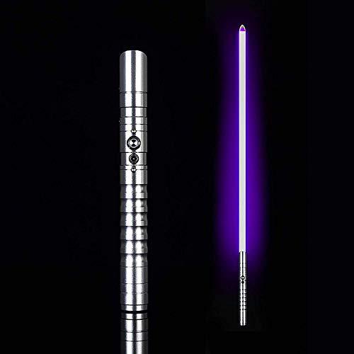 ADIS Sable de luz réplica de sable de luz recargable LED con mango de espada de metal iluminado tipo de iluminación monocromo con 6 efectos de luz y 3 sonidos-sable de luz monocromo_plateado +