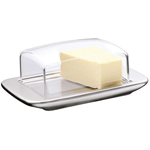 WMF loft Brunch Butterdose Edelstahl 11,5 x 16,8 cm, mit Kunststoffhaube, Cromargan Edelstahl mattiert, spülmaschinengeeignet