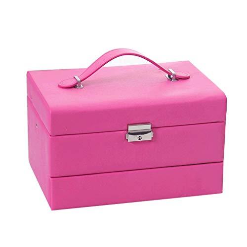 Jewelry Box 24.5 * 18 * 15 cm con Bloqueo Regalos de Boda Caja de Almacenamiento Simple Hand Necklace Pendientes (Color: Blanco) leilims (Color : Rose Red)