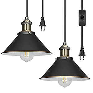 DEWENWILS 2 Pack Pendant Light Plug in, Indoor Ceiling Light for Kitchen Living Room, Bedroom, Dinning Hall, Plug in Hanging Light, 15FT Adjustable Cord with On/Off Switch, ETL Listed