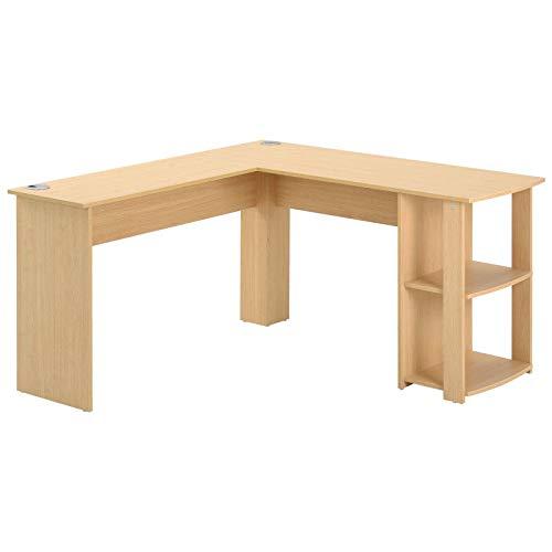 PovKeever L-förmiger Schreibtisch, Eckschreibtisch, Computertisch aus MDF, Bürotisch mit 2 Ablagen, für Büro/Home Office, vergrößerter Desktop 140 x 50 x 75cm