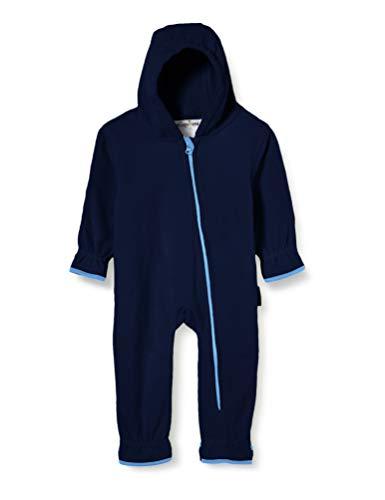 Playshoes Unisex Baby Fleece-Overall Farblich Abgesetzt, Blau (Marine 11), 80