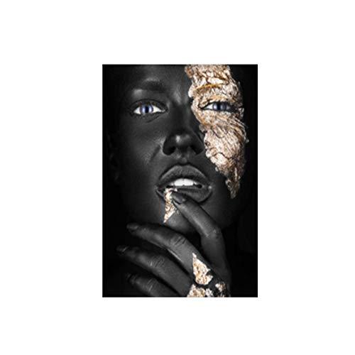 NIEMENGZHEN Afrikanische Kunst Schwarz und Gold Frau Gemälde auf Leinwand Poster und Drucke Skandinavische Wandkunst Bild für Wohnzimmer Home Decor 19,6