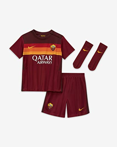 Nike Roma I NK BRT Kit HM, Set da Calcio Unisex Bimbi, Team Crimson/Dark Team Red/(University Gold) (Full Sponsor), 24-36M