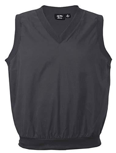 Akwa Made in USA Men's Microfiber Water Repellent V-Neck Pullover Vest Charcoal
