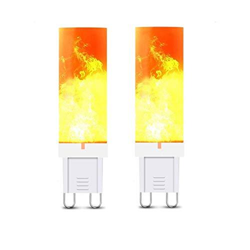 ADLOASHLOU Flammen Glühbirne G9 3W LED Flamme Effekt Glühlampen Dekorative Innenglühlampen 2835 SMD Flackernde LED-Glühbirnen mit Feuereffekt für Haus Garten Party 2pieces