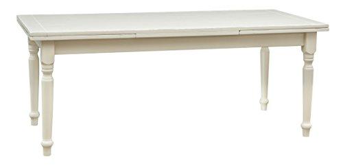 Biscottini Table Extensible en Bois Massif de Tilleul – Style Country – Style Shabby – Structure Blanche vieillie L 200 x P 90 x H 80 cm