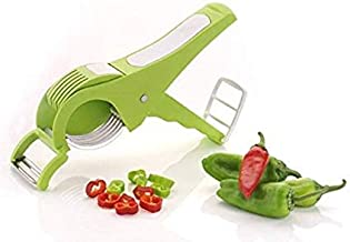 AMPLE EMPORIUM Vegetable Cutter 5 Sharp Blade with Peeler 2 in 1 - Multicolour