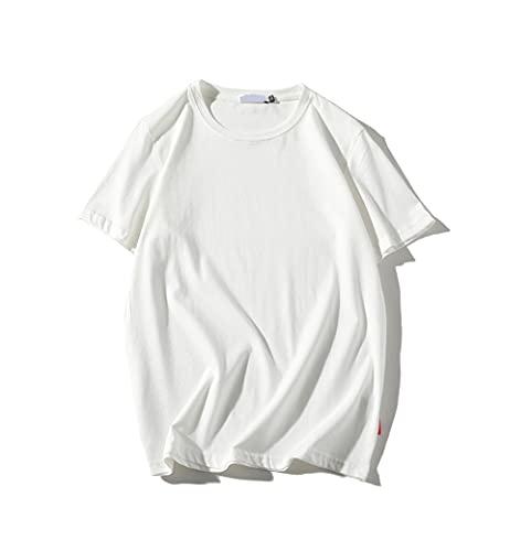 Shirt Ocio Hombre Básica Cuello Redondo Color Liso Manga Corta Hombre Shirt Verano Holgada Hombre T-Shirt Cómoda Hombre Ropa De Calle H-White M