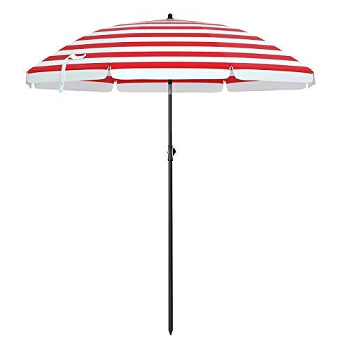 SONGMICS Sonnenschirm, Ø 160 cm, Marktschirm, UV Schutz UPF 50+, Sonnenschutz, achteckiger Gartenschirm aus Polyester, Schirmrippen aus Glasfaser, mit Tragetasche, rot-weiß gestreift GPU60RW