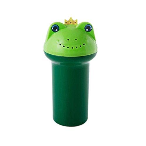 gnrjgs Cartoon Froschprinz Baby Shampoo Tasse mit Abflusslöchern Kinder Baby Kind Haar Augenschutz Shampoo Ausspülen Tasse Blumentopf Sprinkler Krug grün