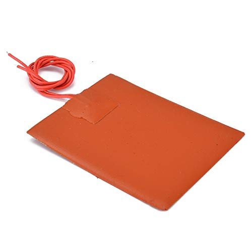 ADUCI 1pc 80x100mm 12V DC 20W Flexible Waterproof Silicone Heater Bed Pad For 3D Printer Heat Bed Electric Pads Red