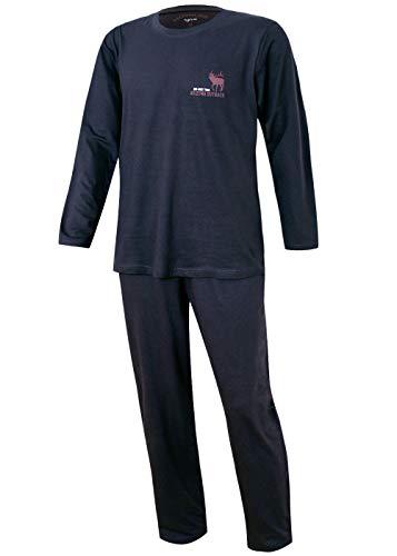 Herren Pyjama lang Herren Schlafanzug Übergrösse Plusgrösse lang Hausanzug Herren aus 100{fd3d2aeac9be2f0912f8965d2e1772ebf5e131b9cdae6c1e45d1b9de5dd84c7c} Baumwolle Model Vintage (L/52, Hirsch Motiv Anthrazit)