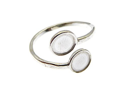 JBB 2 STK. 925 Sterling Silber Ring Rohling mit 2 6mm Fassungen DIY