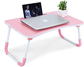 Wood Laptop Tablet Stand Bed Desk, Portable Foldable Laptop Tray Table with/Cup Holder/for Bed/Couch/Sofa Working/Kids Hom...