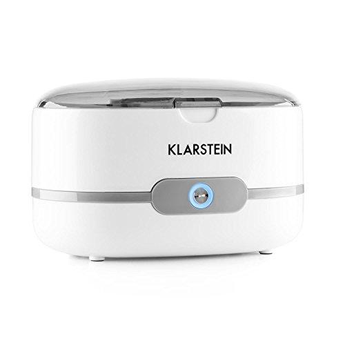 Klarstein Superpure - Sterilizzatore Ultrasuoni, Per Occhiali e Gioielli, Funziona con acqua corrente, Serbatoio in acciaio inox, Dimensione compatta, Semplice da gestire, Bianco