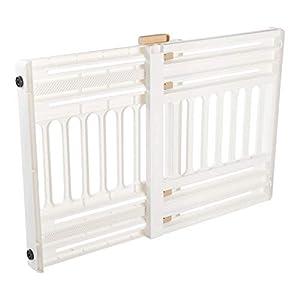 Iris Ohyama, barrera de seguridad para perros extensible hasta 100 cm Pet Barrier PBR 600, plástico, blanco/beige, 64 x 61 x 5 cm