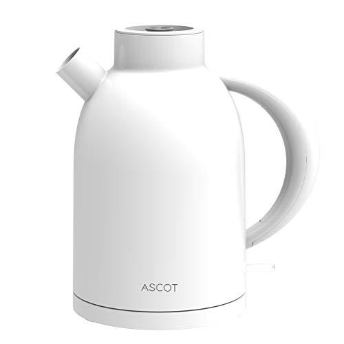 ASCOT Wasserkocher Weiß- Wasserkessel Retro Elektrische Teekocher Kettle BPA frei Lebensmittelqualität Material Schnelles Doppelheizung Trockenlaufschutz Auto Herunterfahren 1.6L 2200W