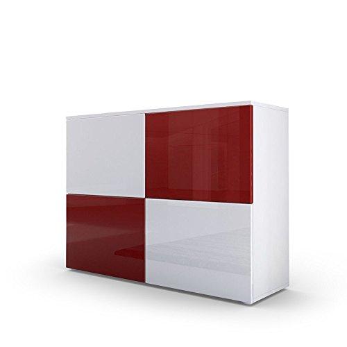Kofkever Skate 1105 credenza mobiletto Bianco e Bordeaux. Mobile Mobile Ingresso Sala Soggiorno
