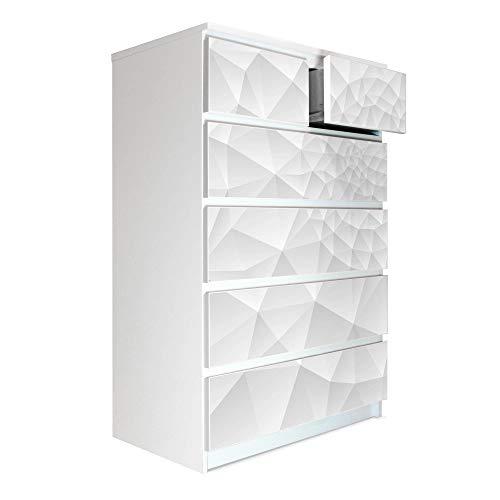 banjado Möbelaufkleber passend für IKEA Malm Kommode 6 Schubladen | Selbstklebende Möbelfolie | Sticker Tattoo perfekt für Wohnzimmer und Kinderzimmer | Klebefolie Motiv Nautilus