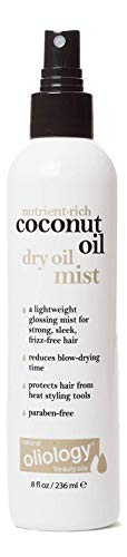 Oliology Coconut Oil Dry Oil Mist - Lightweight Glossing Mist for Strong, Sleek, Frizz-Free Hair - Made in the USA, Cruelty Free, Paraben Free