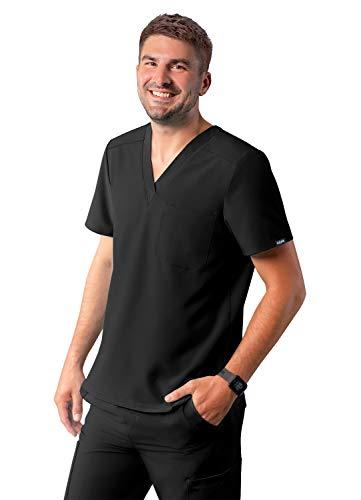 Adar Addition Scrubs for Men - Classic V-Neck Scrub Top - A6006 - Black - XL