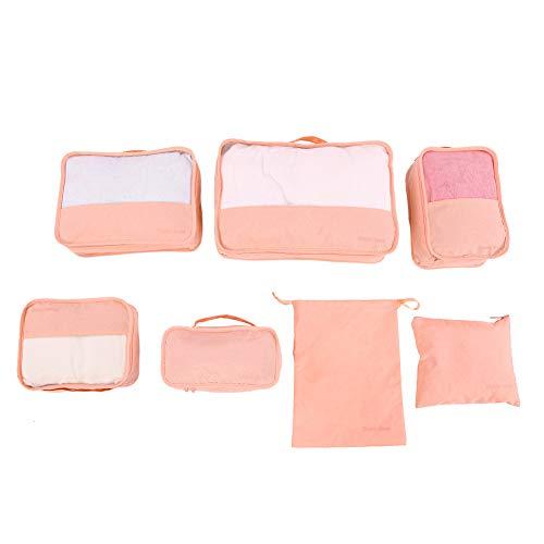 ZHHZ Organizador de maletas – 7 piezas bolsas de almacenamiento cubos conjunto de compresión equipaje maleta organizador (rosa)