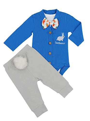Baby Boys Girls 3PCs Sets My 1st Easter Romper Long Bodysuit Pants Outfit 9-12 Months Blue