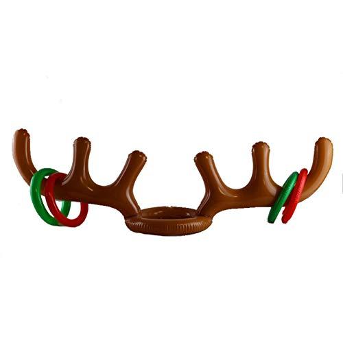 Fengzong Simpatico Pelo Di Corna Gonfiabile In PVC Giocattoli Testa Di Animale Anello Lanciare Cerchio Gioco Giocattolo Divertente Renna Regali Di Natale (Misto Multicolore)