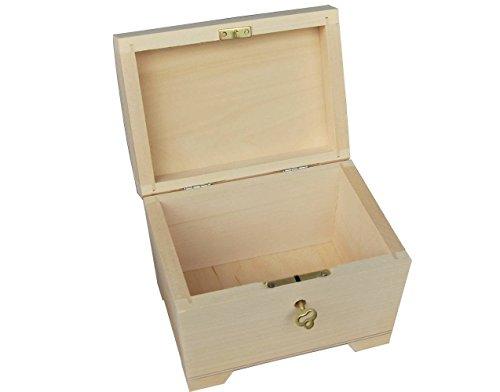 Pequeño madera natural / caja de madera con bisagras – con cerradura...