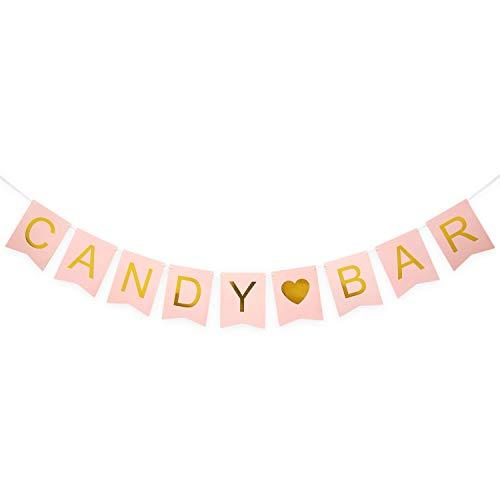 Oblique Unique® Candybar Girlande Banner für JGA Junggesellinnenabschied Hochzeit Geburtstag Party Feier Deko - Rosa und Gold