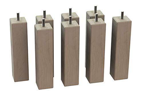 MegaluxFrance Set mit 8 Füßen für Bett, Möbel, Sofa, quadratisch aus Holz (massiv) 46 x 46 x 200 mm