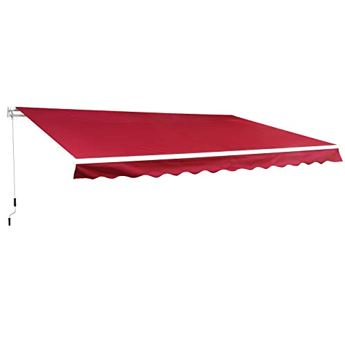 Outsunny 10' x 8' Manual Retractable Sun Shade Patio Awning with UV Protection and Easy Crank Opening, Wine Red