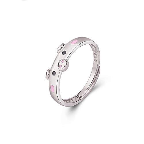 24 JOYAS Anillo Ajustable Cerdito de la Suerte; Amuleto para Mujer y Regalo simpático (Rosa)