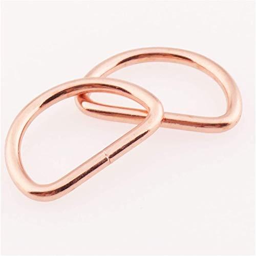 XCHJY 10-20 PCS Rose Gold D Ring Buckles 25mm Belt Webbing Purse Bag Hardware Handbag D Rings Hardware Leather Craft D-ring Belt Buckle (Color : 20 Pcs)