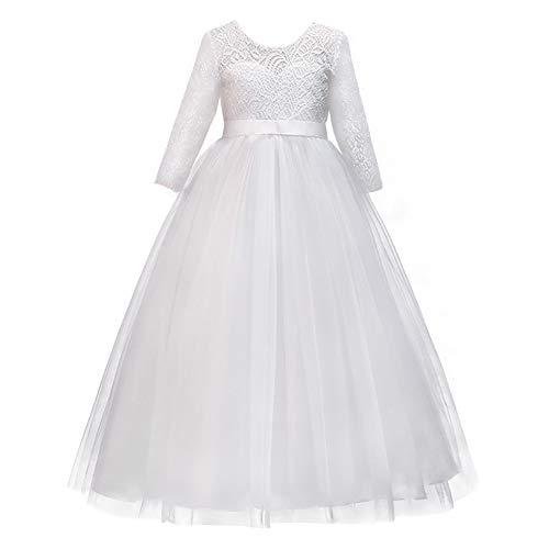 IBTOM CASTLE Mädchen Prinzessin Kleid Blumenmädchenkleid Taufkleid Festlich Kleid Hochzeit Festzug Babybekleidung Spitze Bowknot Kleid S# Weiß 4-5 Jahre
