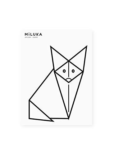 Wandsticker für Dekoration | Fuchs | Kreative Wandtattoos Origami Tiere Natur | Fuchs schwarz
