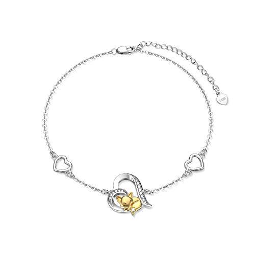Sterling Silver Animal Fox Bracelet Cute Yellow Gold Fox Heart Bracelet for Girl Women (Fox)