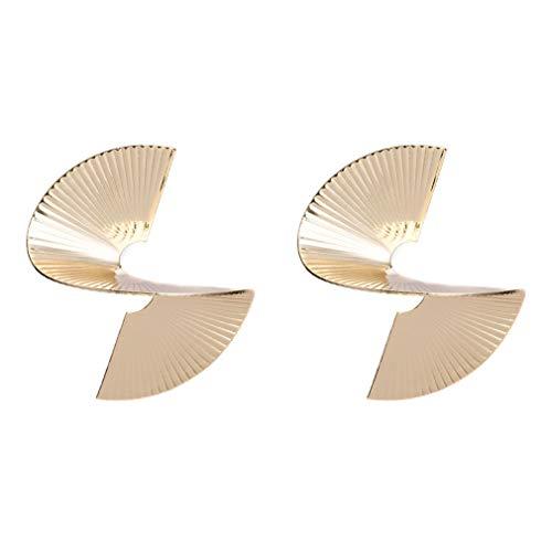 YAZILIND Exaggerated Alloy Twisted Fan-shaped Stud Earrings Bohemian Style Women Jewellery(gold)