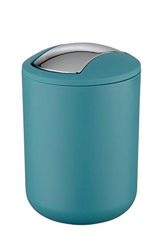 Wenko Kosmetikeimer Brasil S 2 Liter, Badezimmer-Mülleimer mit Schwingdeckel, kleiner Abfalleimer aus bruchsicherem Kunststoff, Ø 14 x 21 cm, petrol