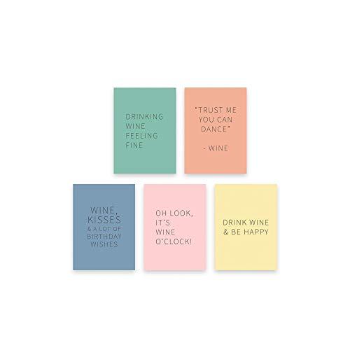 Kaart met wijn quotes - Happy Wine Cards – Mix (Set van 5 kaarten) voor verjaardag, zomaar, verrassing of als wenskaart