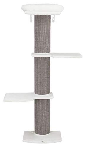 TRIXIE Acadia 44073 Katzenturm, Wandmontage, mit übergroßem Kratzbaum, DREI Plattformen, herausnehmbares Bett, Halterungen inklusive, Weiß/Grau