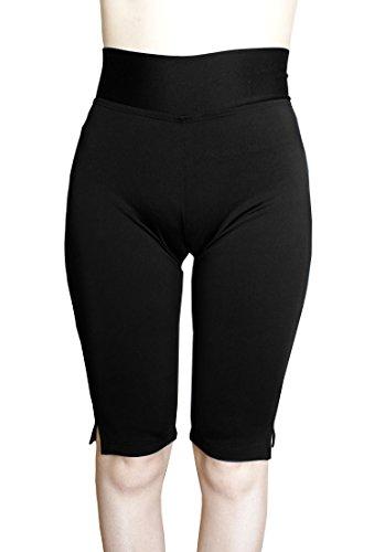 Cocoship Black Women's UPF 50+ Knee Length Swim Rash Multipurpose Short Sport Capris Pants L(FBA)
