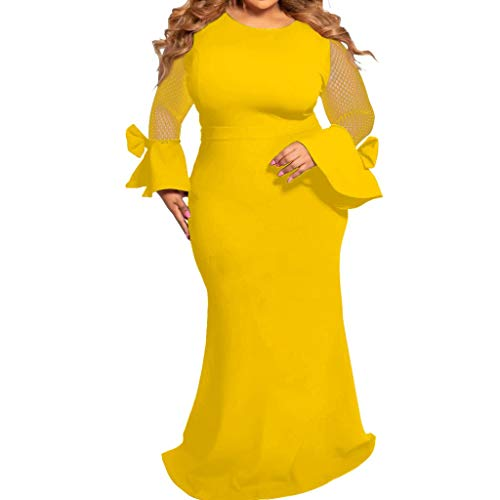 E-Scenery Plus Size Dress, Fashion Women Casual Long Sleeve Solid Mesh O-Neck Patchwork Dresses Yellow