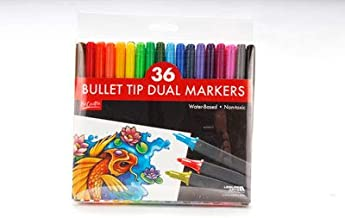 36 Pack Artist Quality Double Ended Markers - Water-Based - Non-Toxic-Precision and Broad Bullet Tips