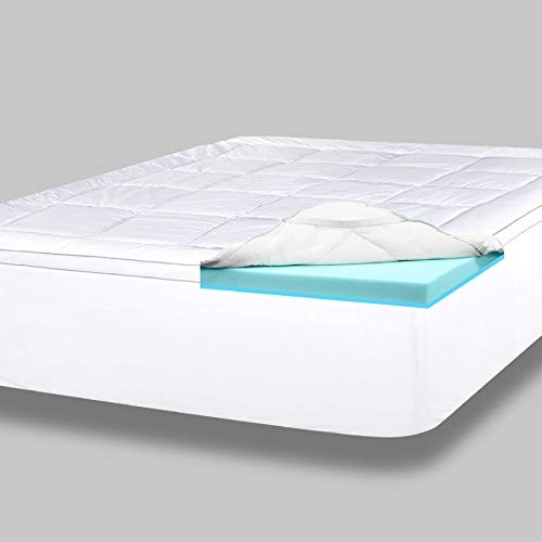 ViscoSoft 4 Inch Pillow Top Gel Memory Foam Mattress Topper King - Serene Dual Layer Mattress Pad