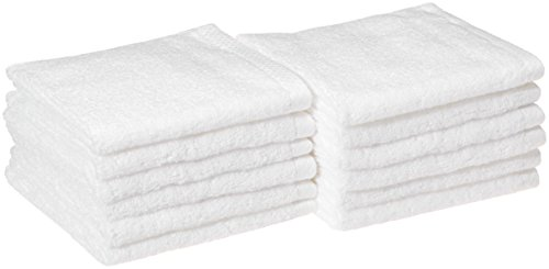 AmazonBasics Quick-Dry, Luxurious, Soft, 100% Cotton Towels, White - Set of 12 Washcloths